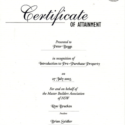 Master Builders Association - Introduction to Pre-Purchase Property Certificate of Attainment