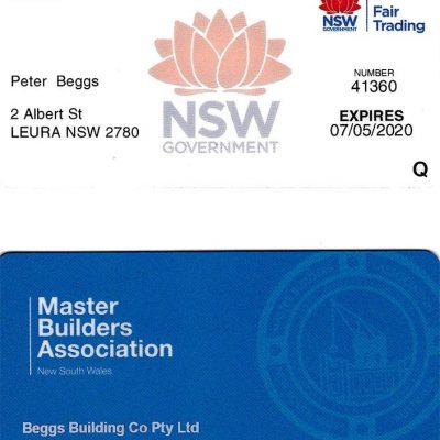 Peter Beggs Builders Licence